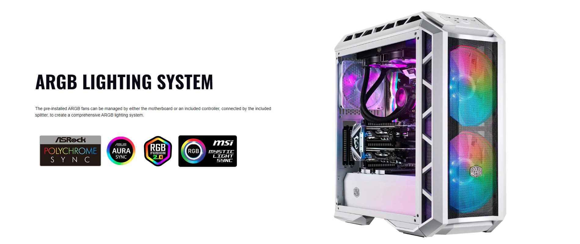 Case Cooler Master MasterCase H500P TG Mesh White ARGB (Mid Tower/Màu trắng/Led ARGB/Mặt lưới) giới thiệu 7
