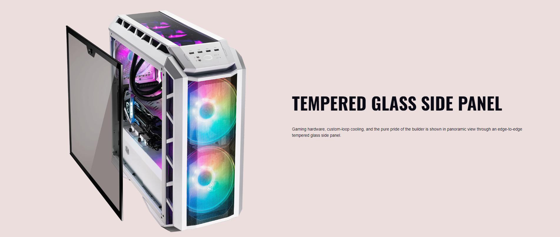Case Cooler Master MasterCase H500P TG Mesh White ARGB (Mid Tower/Màu trắng/Led ARGB/Mặt lưới) giới thiệu 8