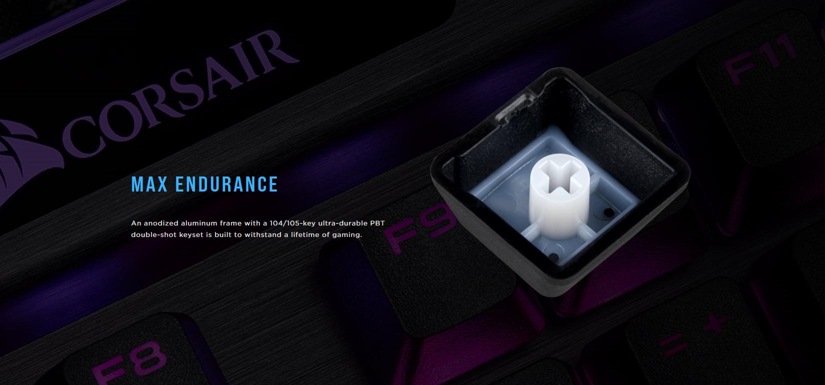 Keycap của Corsair K95 Platinum XT được làm bằng chất liệu PBT DoublShot