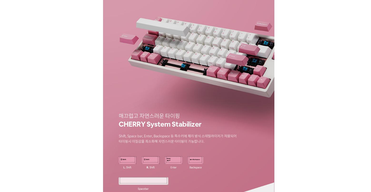 Bàn phím cơ Leopold FC660M White Pink OE Cherry Brown Switch sử dụng hệ thông stabilizer của cherry cho các phím dài gõ chắc chắn và mượt mà