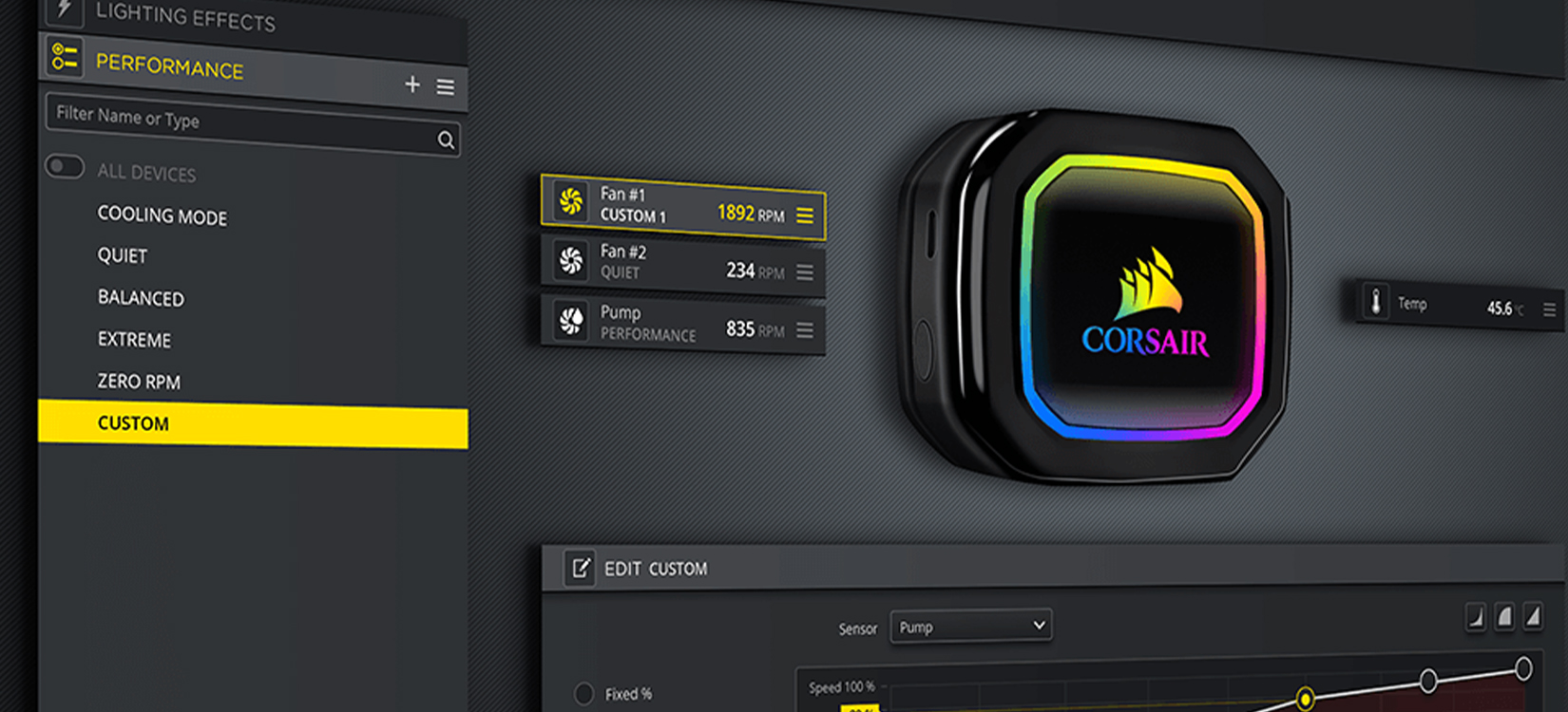Phần mềm Tản nhiệt nước Corsair H100i RGB PRO XT ( CW-9060043-WW )