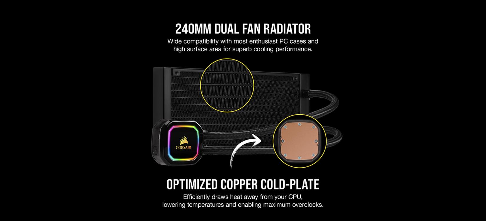 Két làm mát Tản nhiệt nước Corsair H100i RGB PRO XT ( CW-9060043-WW )