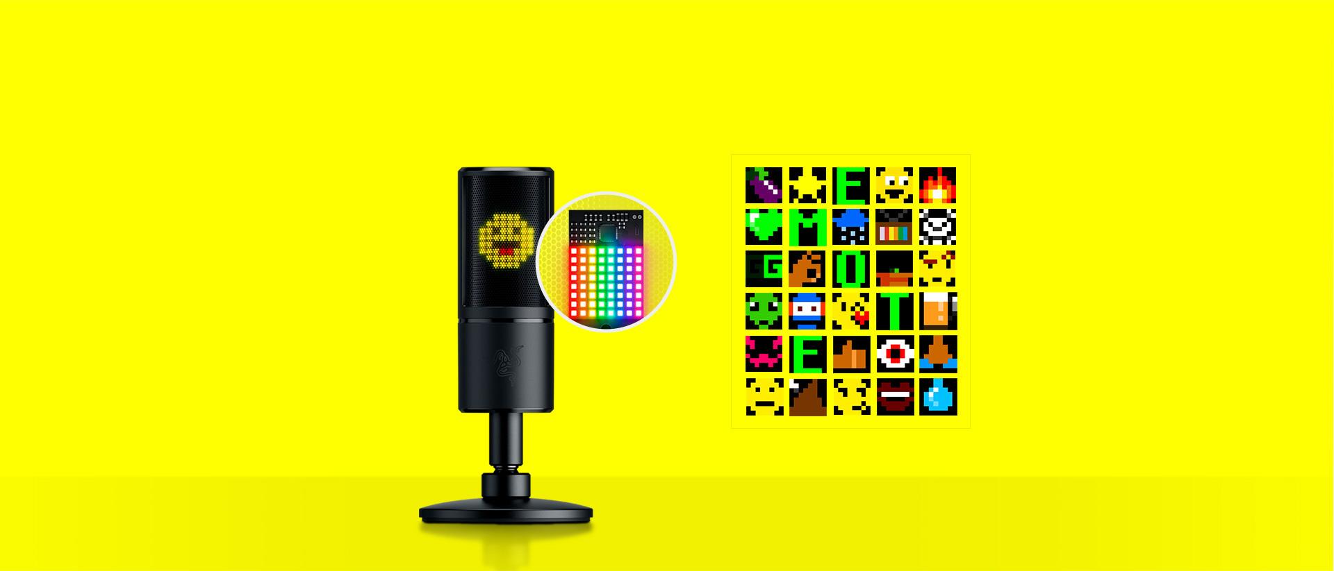 Màn hình led 8-bit của Microphone Razer Seiren Emote with Emotiocons (RZ19-03060100-R3M1)