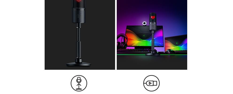 Microphone Razer Seiren Emote with Emotiocons (RZ19-03060100-R3M1) có thiết kế cổ ngỗng dễ dàng tuỳ chỉnh. Hoạt động ngay khi cắm vào PC