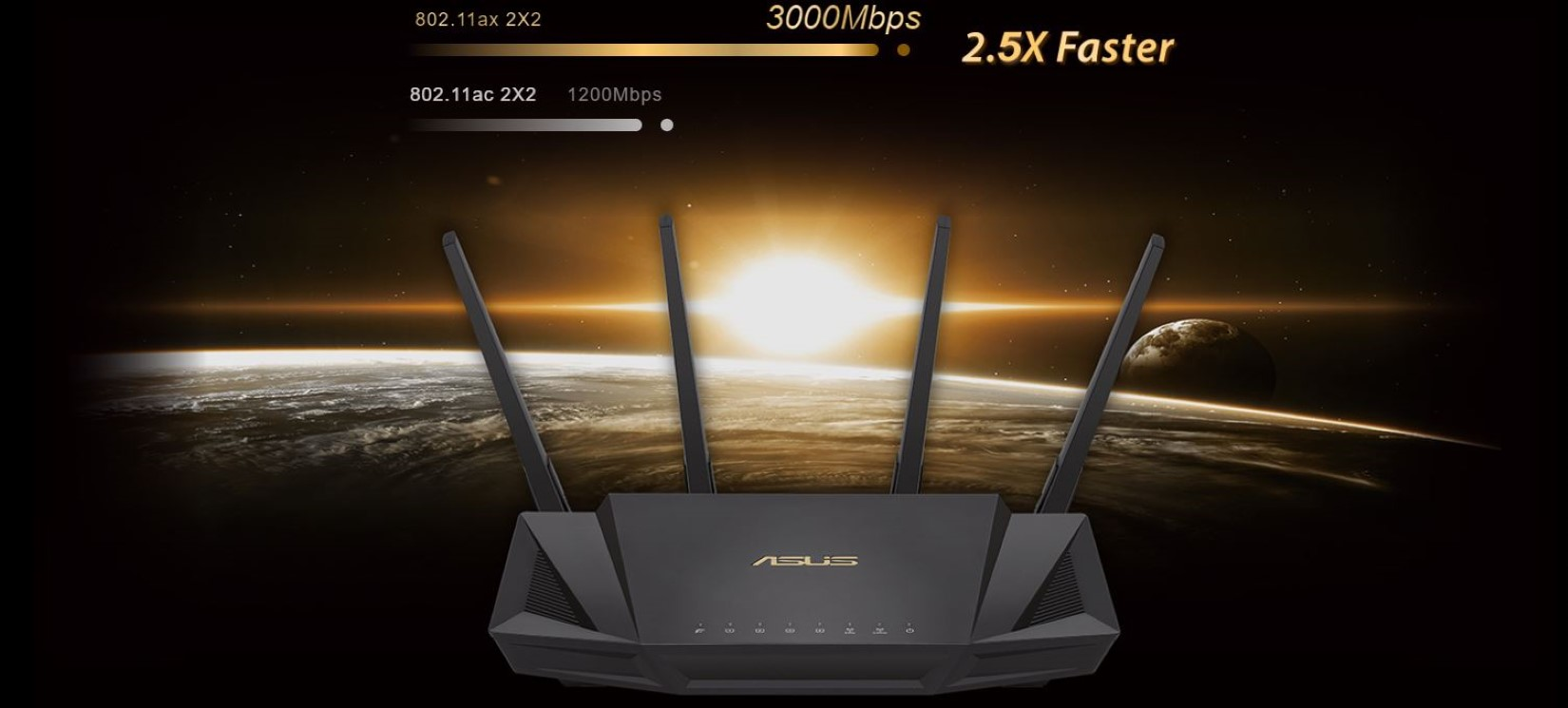Router Gaming ASUS RT-AX58U Wifi 6 - AX3000 1