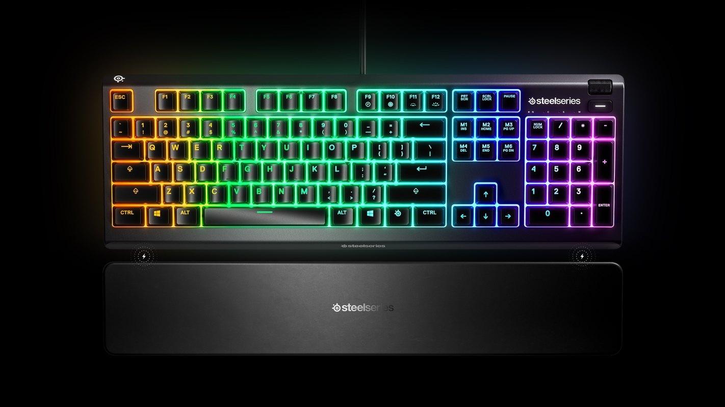 Bàn phím SteelSeries APEX 3 RGB Water Resistant Whisper-Quiet Switches Gaming Black trang bị kê tay cao cấp