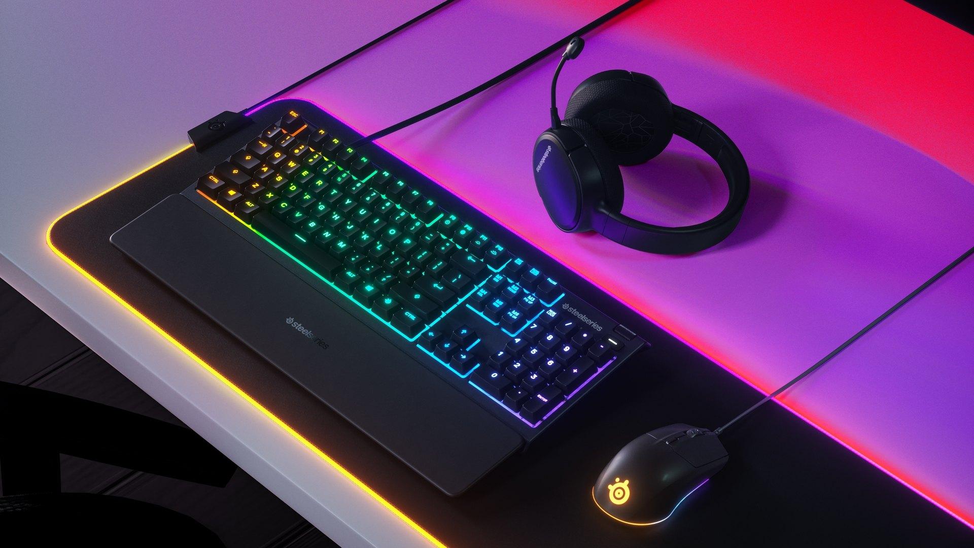 Bàn phím SteelSeries APEX 3 RGB Water Resistant Whisper-Quiet Switches Gaming Black tích hợp led rgb 16.8 triệu màu