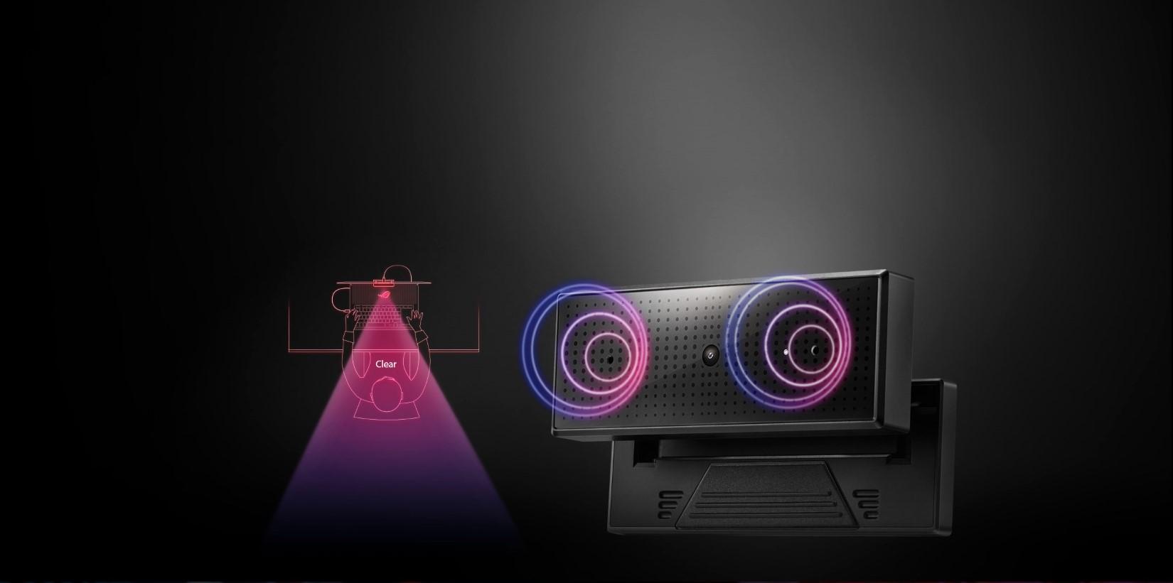 Webcam Asus ROG Eye trang bị microphone kép cho tiếng trong và cho chất lượng ghi âm cao cấp