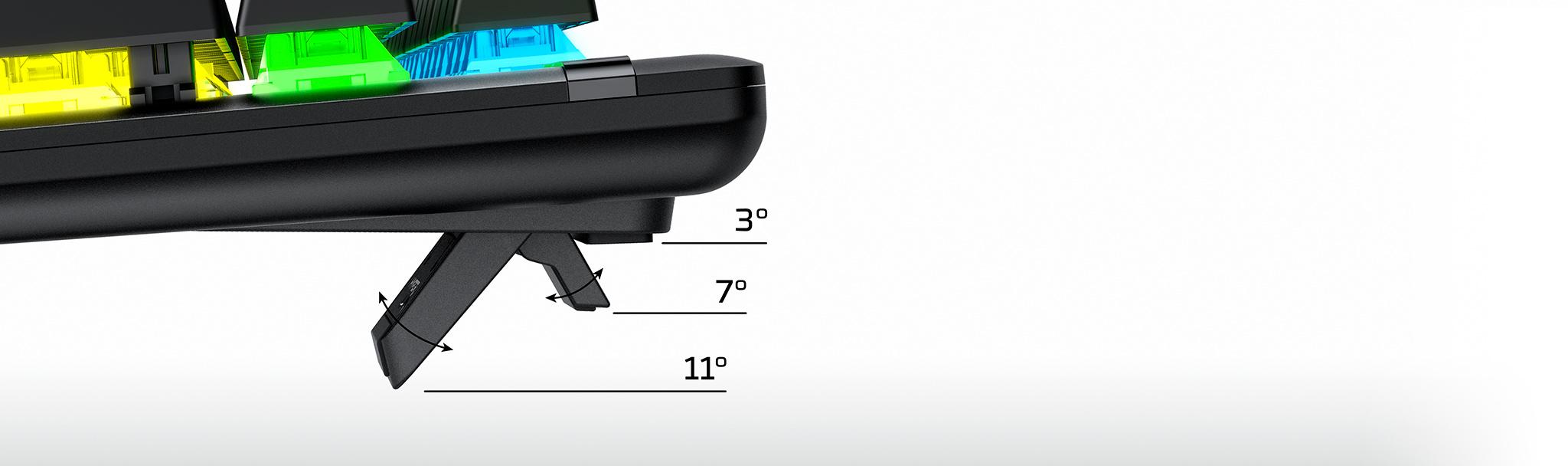 Bàn phím cơ Kingston HyperX Alloy Origins (USB/Led RGB/Aqua Switch/Black) (HX-KB6AQX-US) có thể điều chỉnh độ dốc dễ dàng