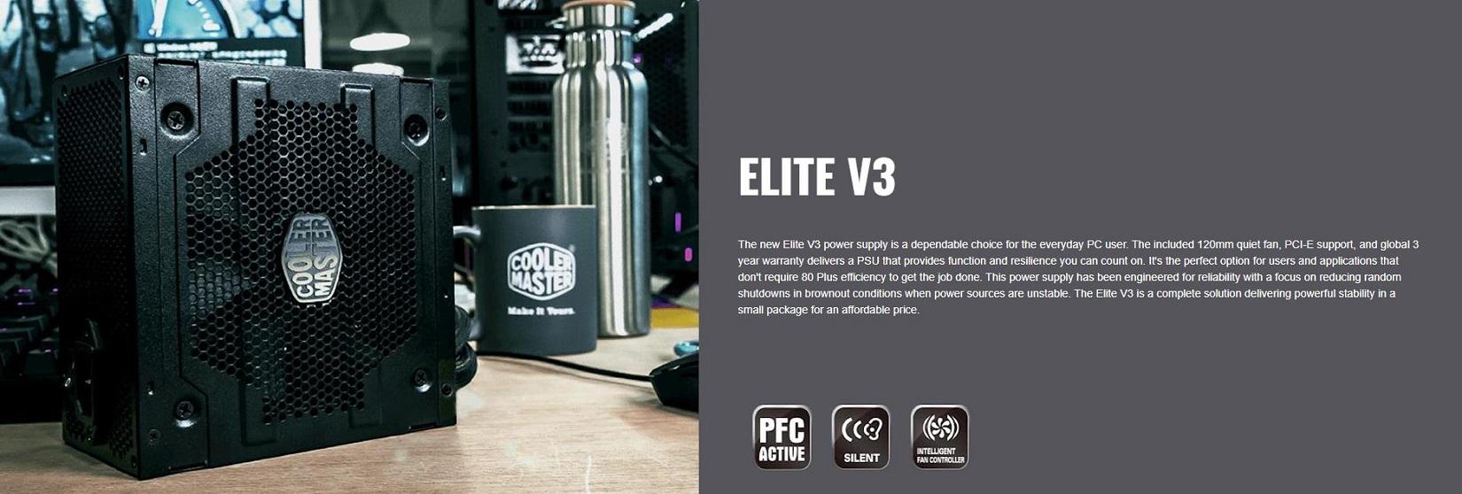 Giới thiệu Nguồn máy tính Cooler Master Elite V3 230V PC400 400W Box (Màu Đen)