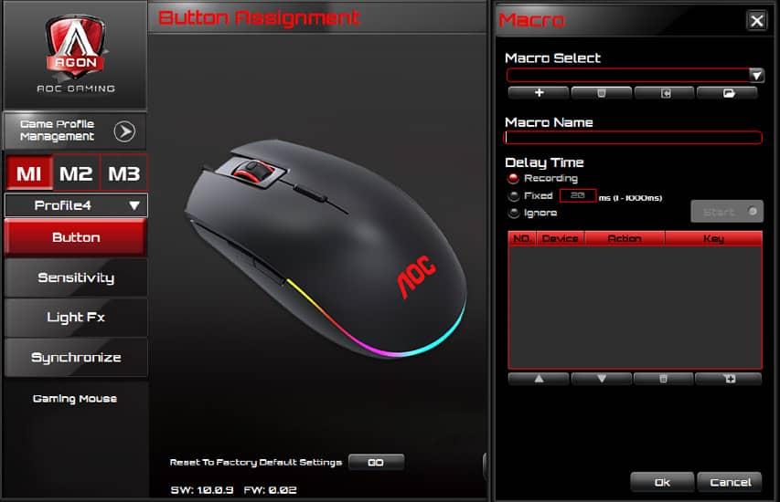 Chuột AOC GM500 RGB Gaming (GM500/74)  có thể tuỳ chỉnh qua phần mềm