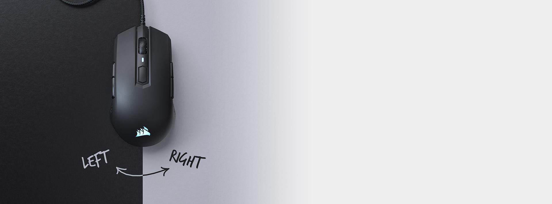 Chuột chơi game Corsair M55 RGB White (CH-9308111-AP) có thiết kế đối xứng