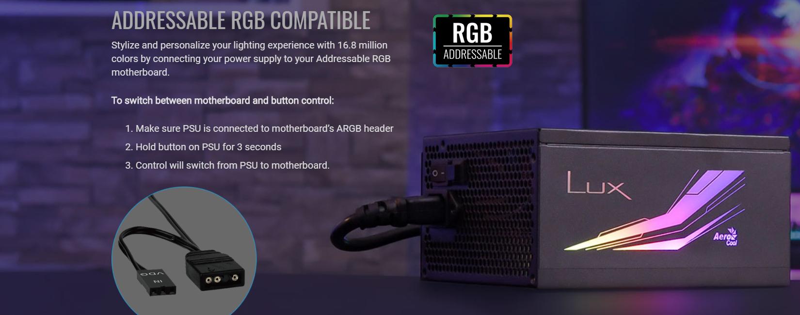 guồn Aero Cool Lux RGB 550W ( 80 Plus Bronze/Màu Đen/Led RGB) RGB sync