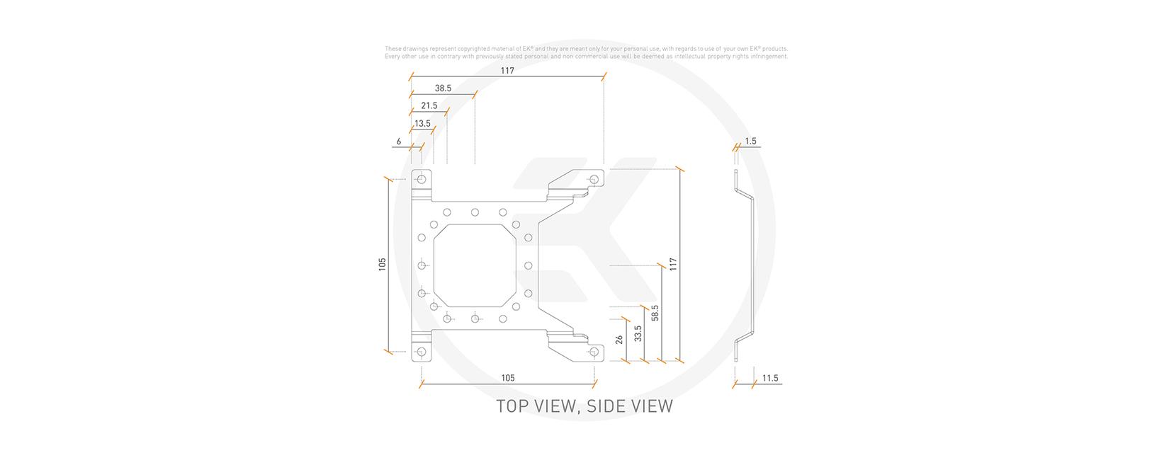 EK-Loop Uni Pump Reservoir Bracket - 120mm