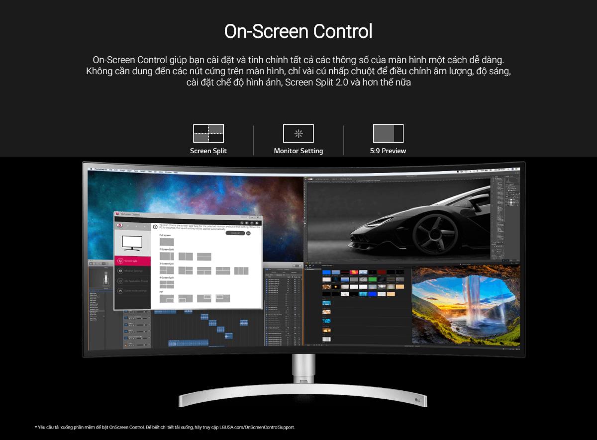Màn hình LG 34WK95C-W điều khiển trên màn hình