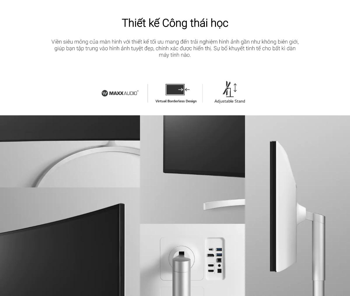 Màn hình LG 34WK95C-W thiết kế gọn gàng