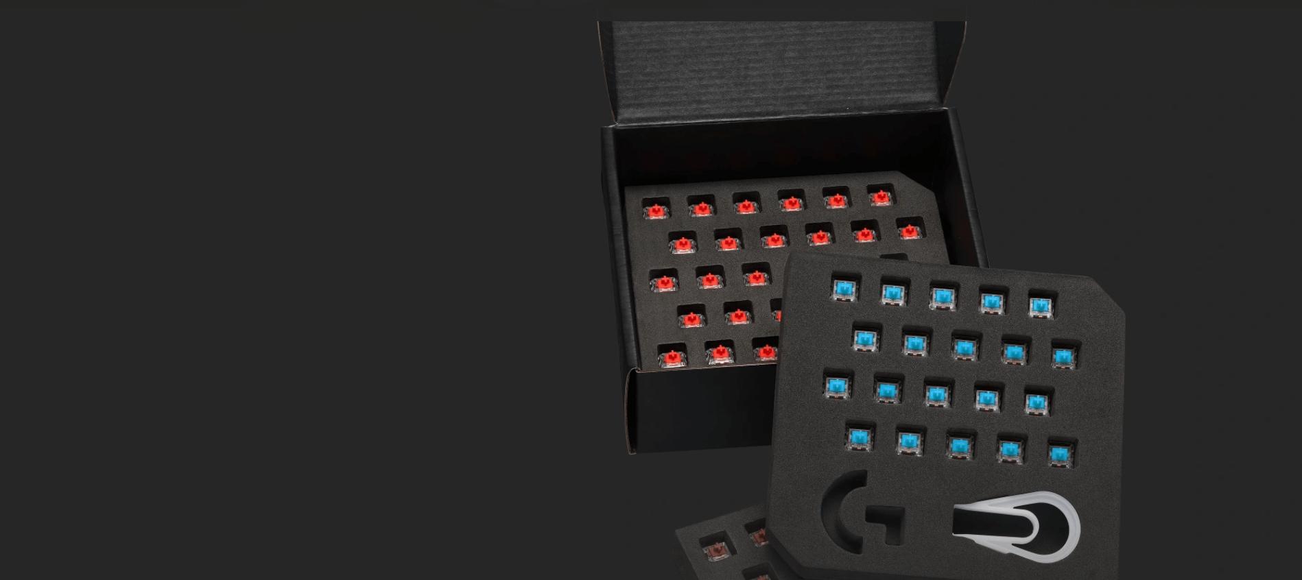 Bộ switch cho G Pro X Keyboard - GX Blue Clicky RGB switch (943-000325) đi kèm hộp lưu trữ switch