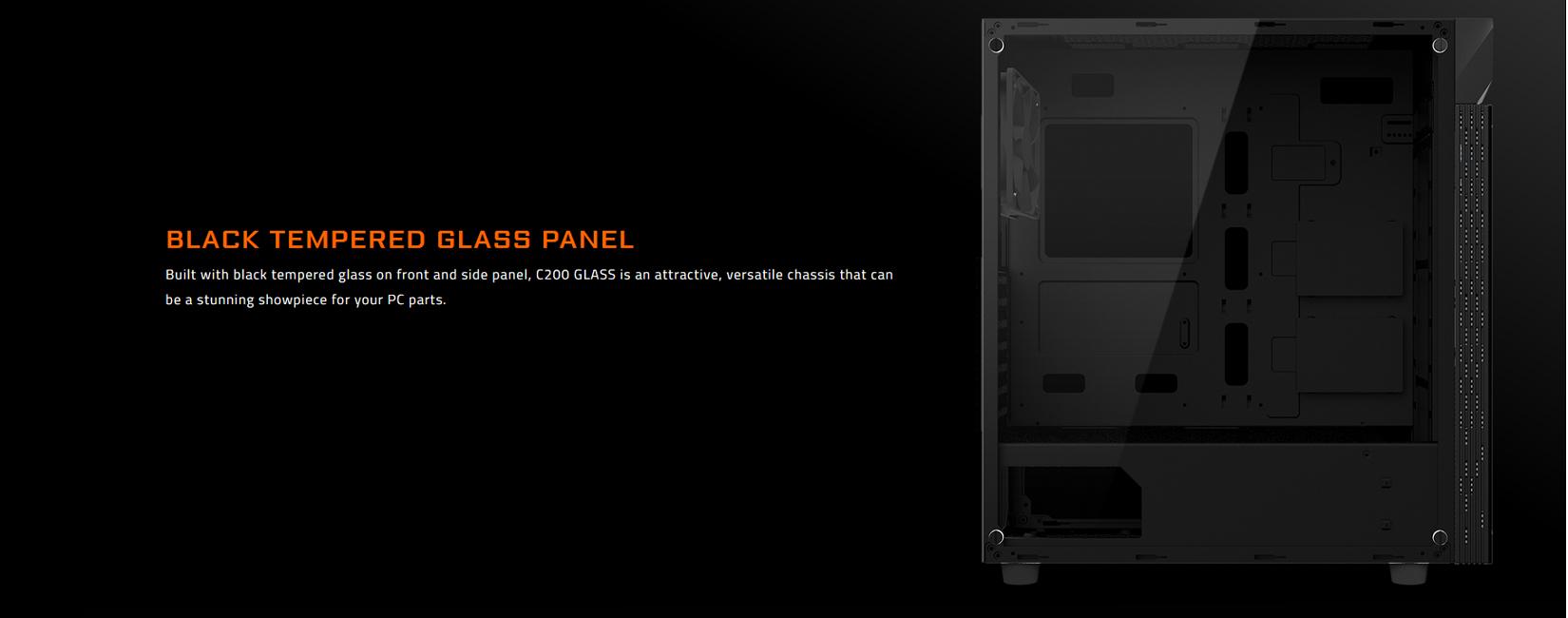 Vỏ Case Gigabyte C200 GLASS GB-C200G (Mid Tower/Màu Đen) với tấm kính cường lực bên hông màu đen sẵn sàng khoe trọn nội thất bên trong PC của bạn