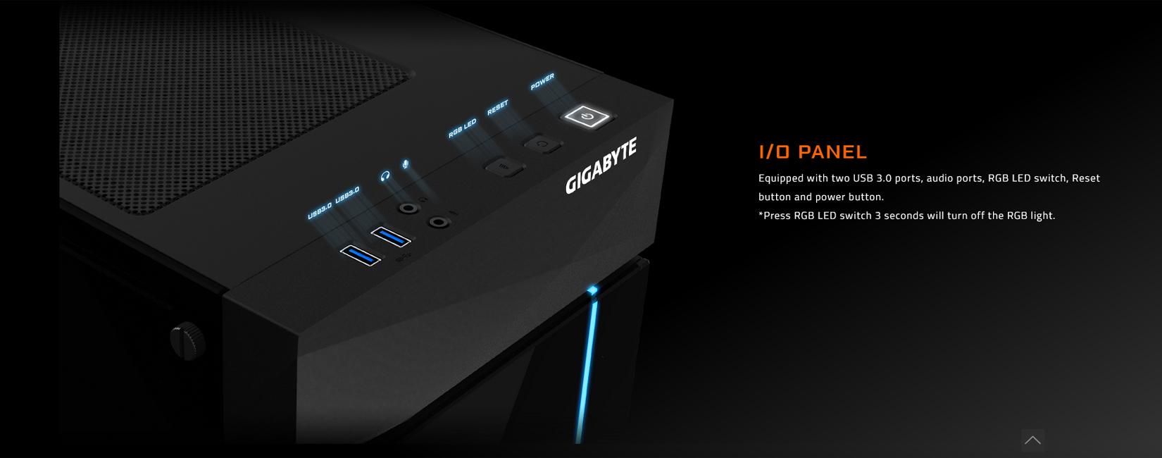 Vỏ Case Gigabyte C200 GLASS GB-C200G (Mid Tower/Màu Đen) trang bị 2 cổng USB 3.0, cổng audio in out, nút bật tắt, reset và nút chỉnh màu RGB