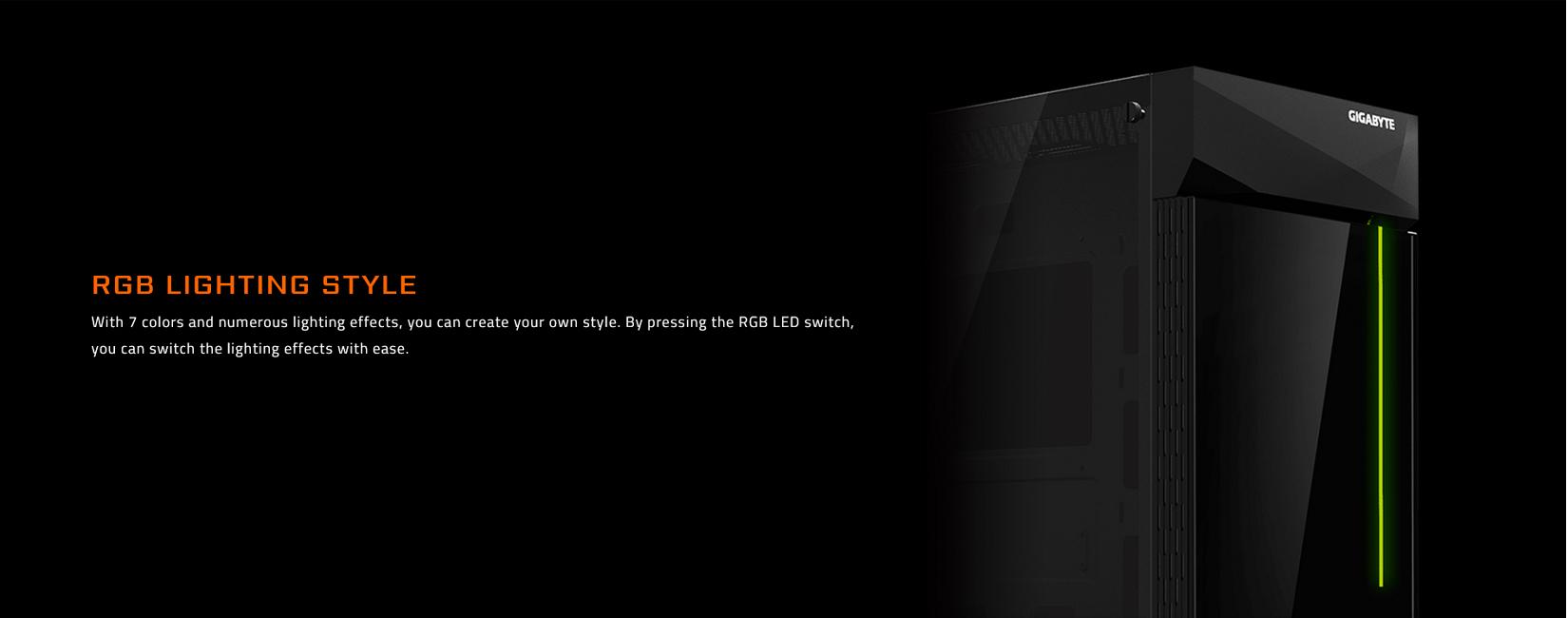 Vỏ Case Gigabyte C200 GLASS GB-C200G (Mid Tower/Màu Đen) trang bị đèn RGB đổi màu