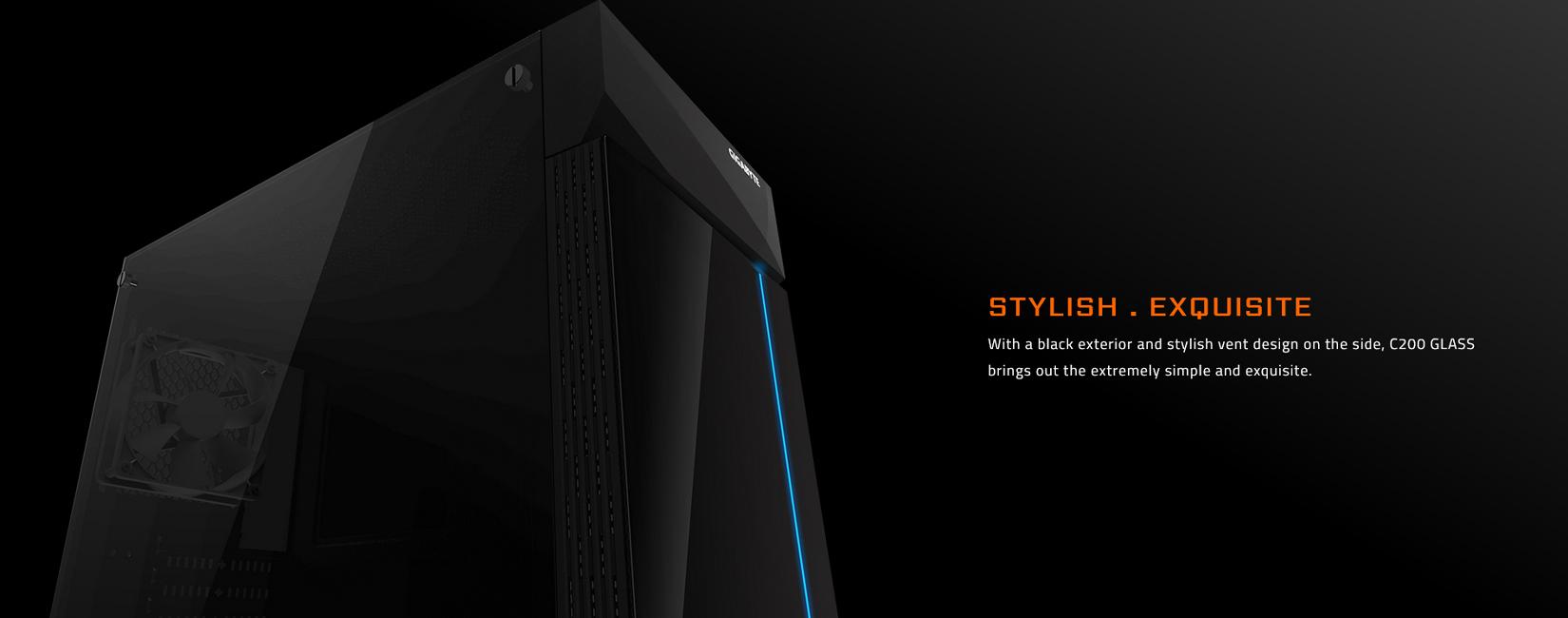 Vỏ Case Gigabyte C200 GLASS GB-C200G (Mid Tower/Màu Đen) mang vẻ đẹp của sự đơn giản nhưng vô cùng tinh tế