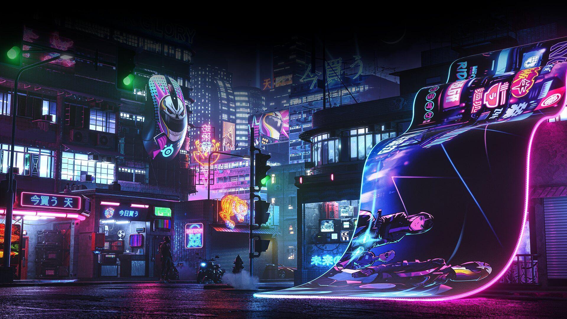 Giới thiệu Bàn di chuột Steelseries Qck Prism(XL) Neon Rider - 63809