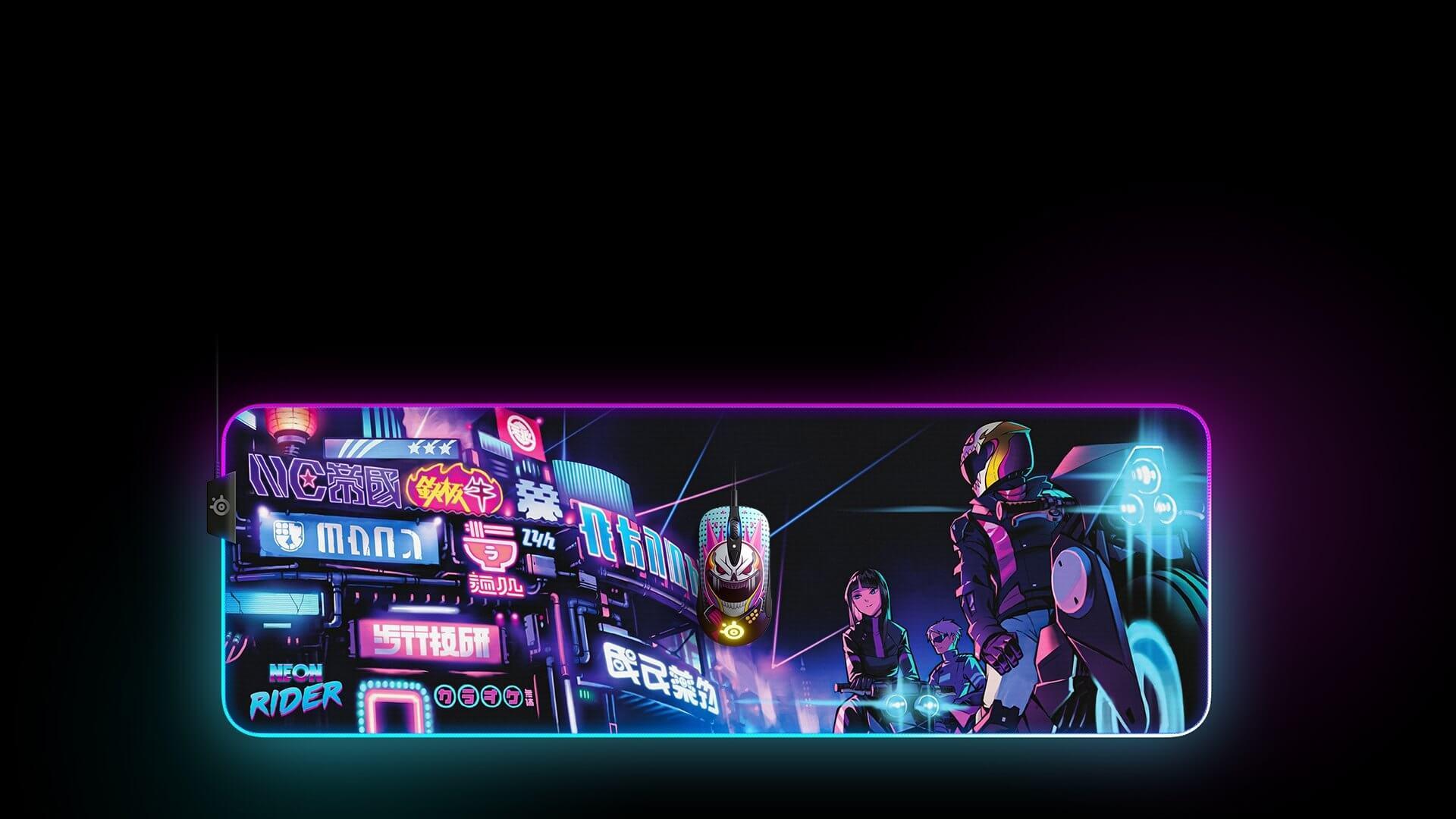 Bàn di chuột Steelseries Qck Prism(XL) Neon Rider - 63809 có bề mặt tương thích tốt với nhiều loại mắt đọc