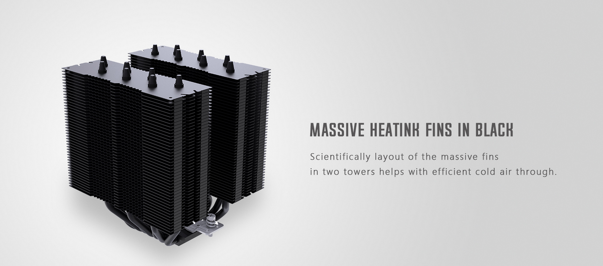 Tản nhiệt khí ID-Cooling CPU SE-207 Black với phần nắp che phía bên trên, 2 quạt thổi áp lực cao