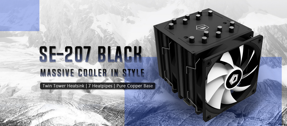 Tản nhiệt khí ID-Cooling CPU SE-207 Black - Tản nhiệt dạng tháp đôi với tông màu đen hoàn toàn