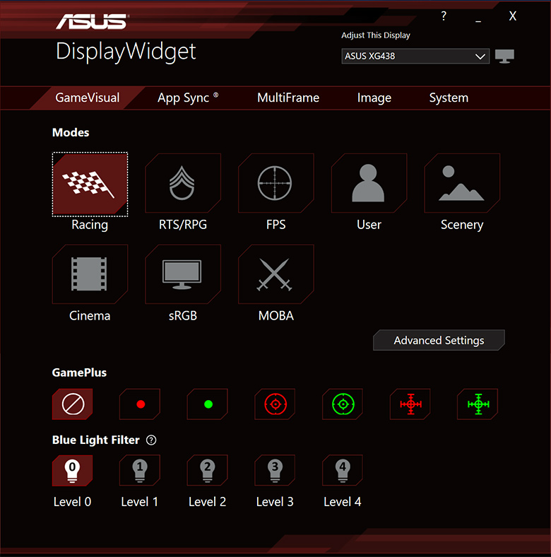 Màn hình Asus ROG XG27UQ display widget