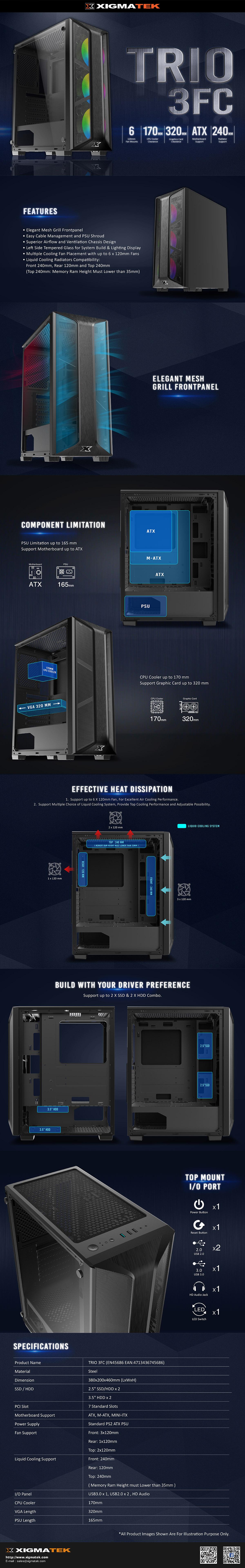Xigmatek TRIO 3FC (Mid Tower/Màu Đen) EN45686 giới thiệu