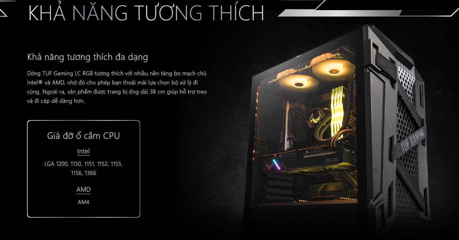 Tản nhiệt nước Asus TUF LC 240 RGB có khả năng tương thích đa dạng