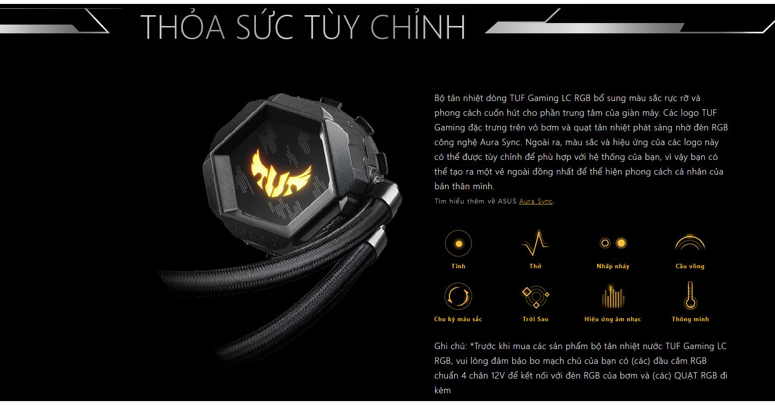 Thỏa sức tùy chỉnh với Tản nhiệt nước Asus TUF LC 240 RGB