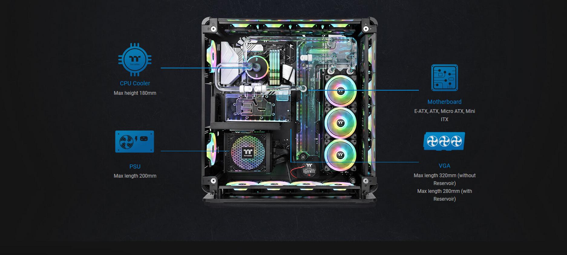 Case Thermaltake Core P8 Tempered Glass Full Tower Chassis (Full Tower / Màu Đen) đặc biệt phù hợp với các mẫu Modding PC có sử dụng tản nhiệt nước Custom.