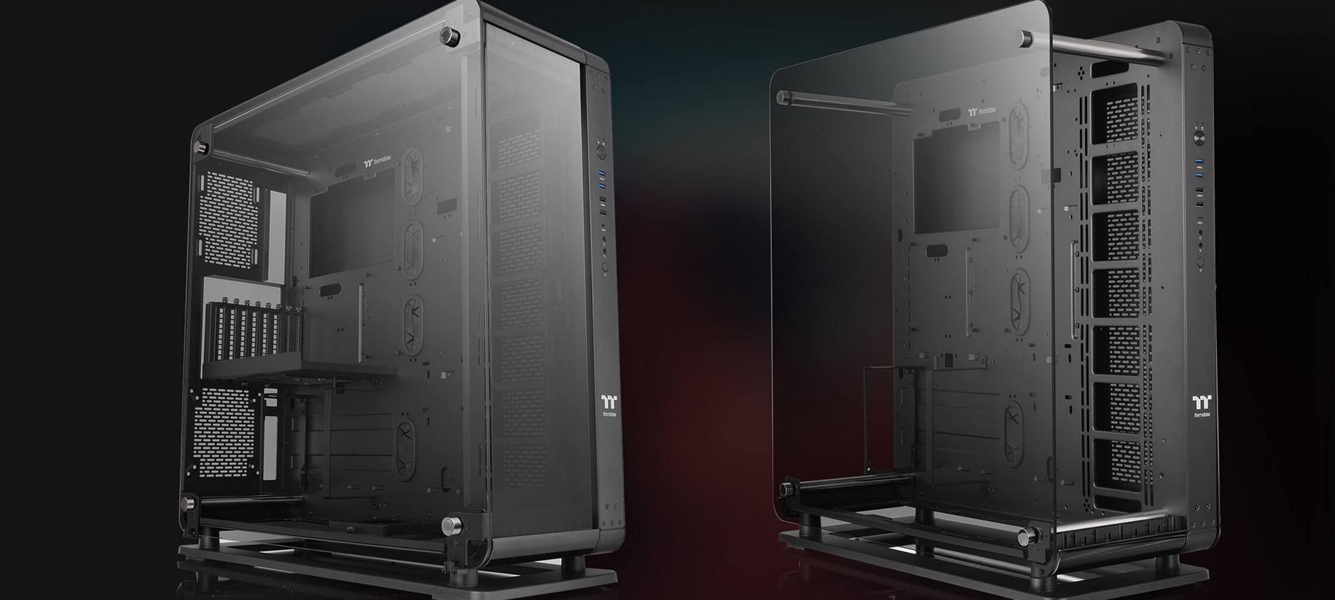 Case Thermaltake Core P8 Tempered Glass Full Tower Chassis (Full Tower / Màu Đen) - Mẫu vỏ case kích thước Full Tower có thể chuyển đổi giữa hai hình dáng là case đóng hoặc case mở đơn giản chỉ thông qua một vài thao tác.