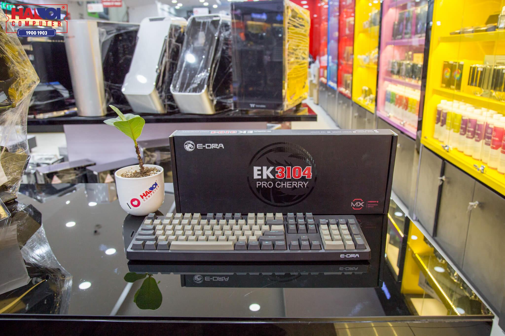 Bàn phím cơ E-Dra EK3104 Pro (Cherry Blue switch/PBT/USB/Đen)  có thiết kế đơn giản