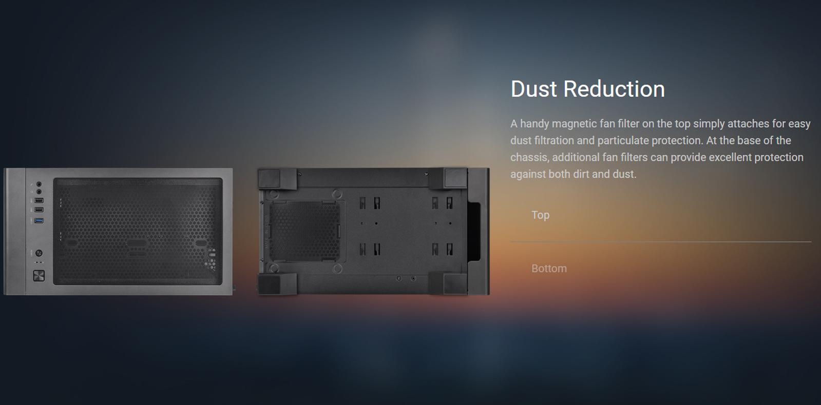 Vỏ Case Thermaltake S100 Tempered Glass Snow Edition (Mid Tower / Màu Trắng) trang bị các tấm lọc bị đi kèm giúp ngăn cản bụi xâm nhập vào bên trong