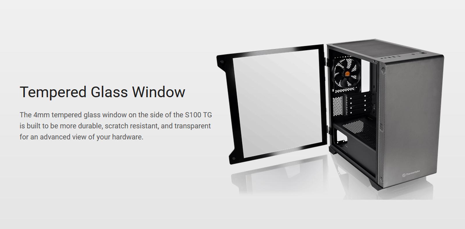 Kính cường lực của Vỏ Case Thermaltake S100 Tempered Glass (Mid Tower / Màu Đen)