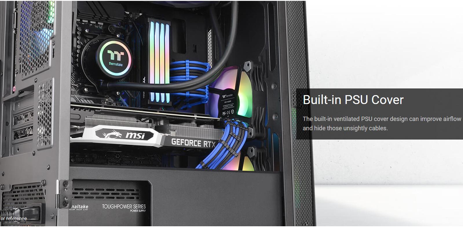 Vỏ Case Thermaltake S100 Tempered Glass (Mid Tower / Màu Đen) tích hợp sẵn khay che nguồn, thuận tiện cho việc đi dây