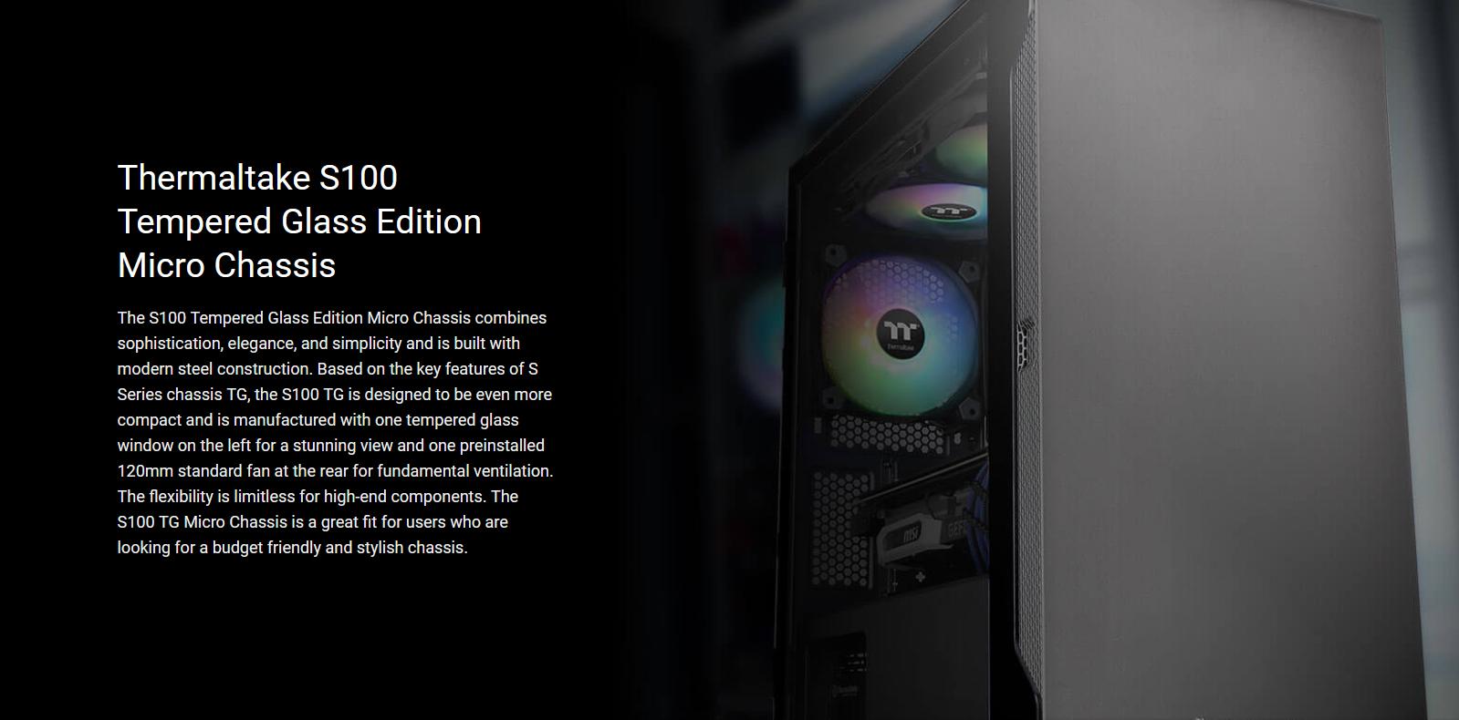 Vỏ Case Thermaltake S100 Tempered Glass (Mid Tower / Màu Đen) - Khung siêu nhỏ trang bị kính cường lực