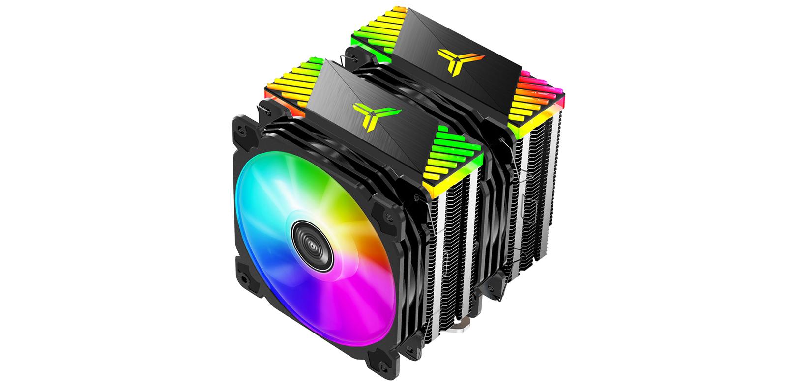 Tản nhiệt khí Jonsbo CR-2000 GT - Mẫu sản phẩm tản nhiệt với thiết kế độc đáo gồm đèn RGB ở quạt và logo RGB phát sáng trên nóc.