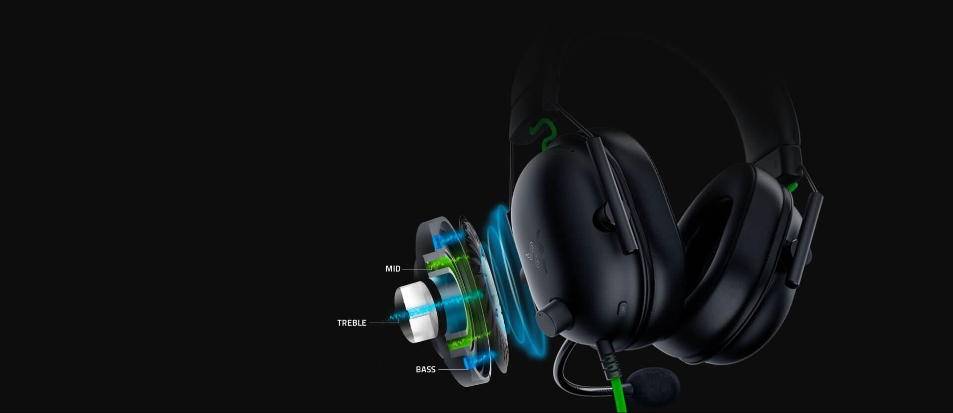 Tai nghe Razer BlackShark V2 X - Wired Gaming Headset - RZ04-03240100-R3M1 trang bị driver 50mm với thiết kế mới cho âm thanh sáng và mạnh mẽ hơn