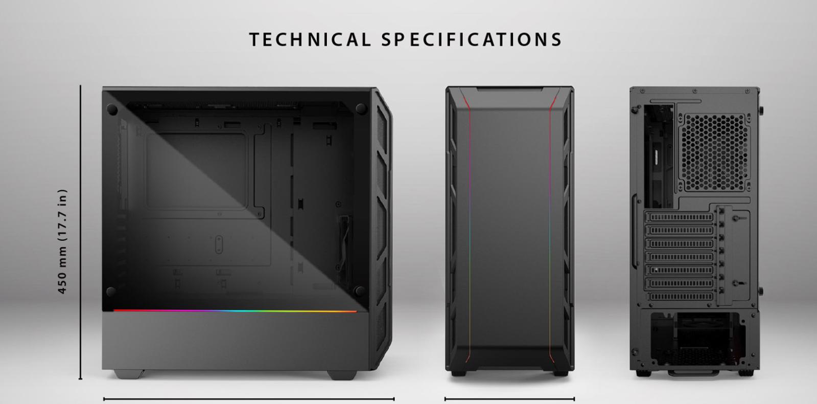 Case Phanteks Eclipse P350X Tempered Glass, DRGB, Black (Mid Tower/Màu Đen) Mặt trước và tổng quan