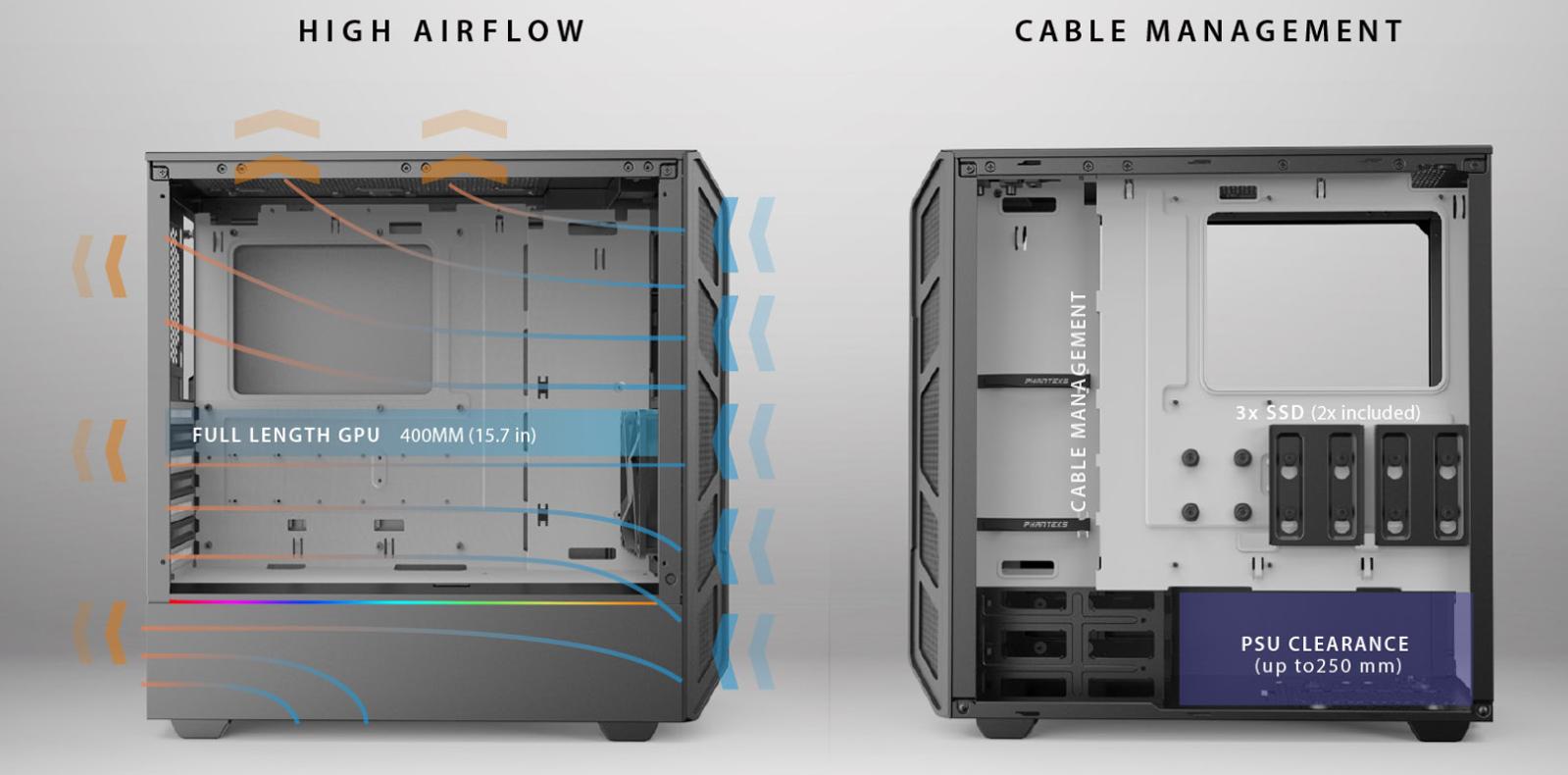 Case Phanteks Eclipse P350X Tempered Glass, DRGB, Black (Mid Tower/Màu Đen) airflow case