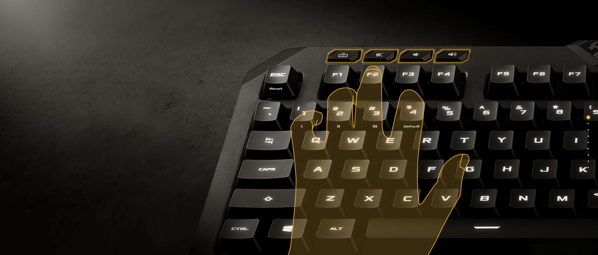 Bàn phím chơi game Asus TUF K5 (USB/RGB/Đen) tích hợp phím đa phương tiện vô cùng tiện lợi