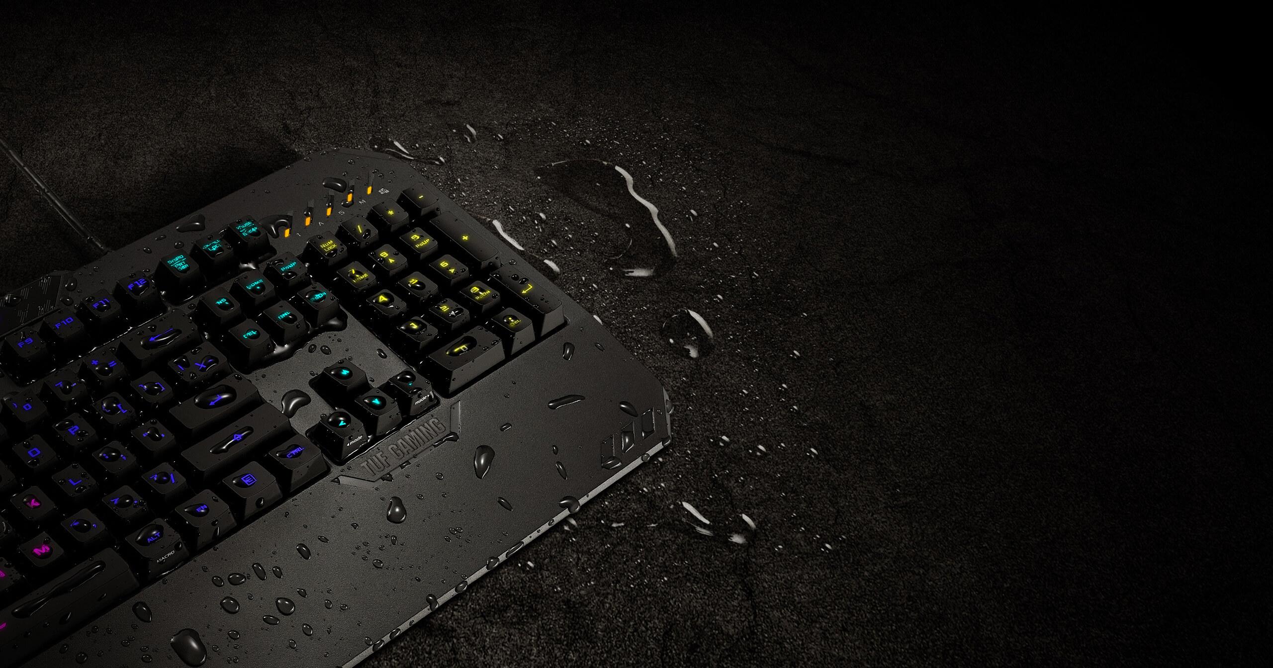 Bàn phím chơi game Asus TUF K5 (USB/RGB/Đen) có tính năng chống tràn nước rất hiệu quả