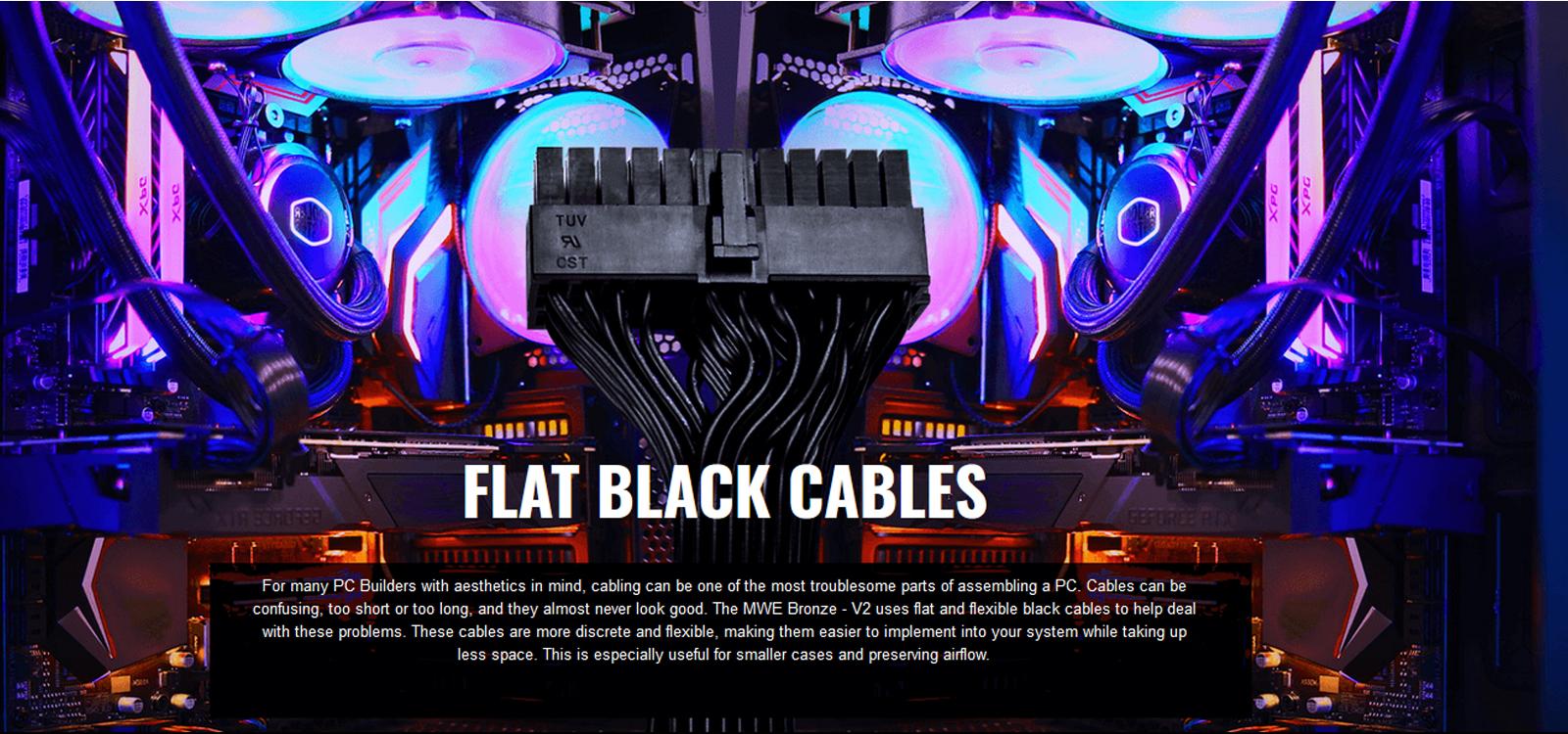 Nguồn máy tính Cooler Master MWE V2 230V 650 650W Plus Bronze (80 Plus Bronze/Màu Đen) trang bị cable đen dẹt