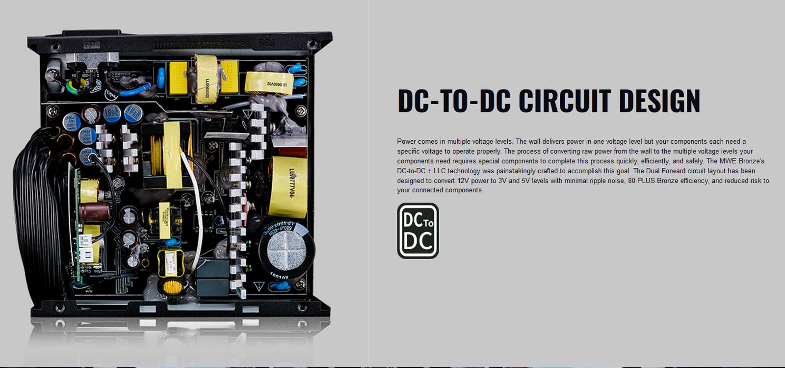 Nguồn máy tính Cooler Master MWE V2 230V 650 650W Plus Bronze (80 Plus Bronze/Màu Đen) với thiết kế mạch DC to DC