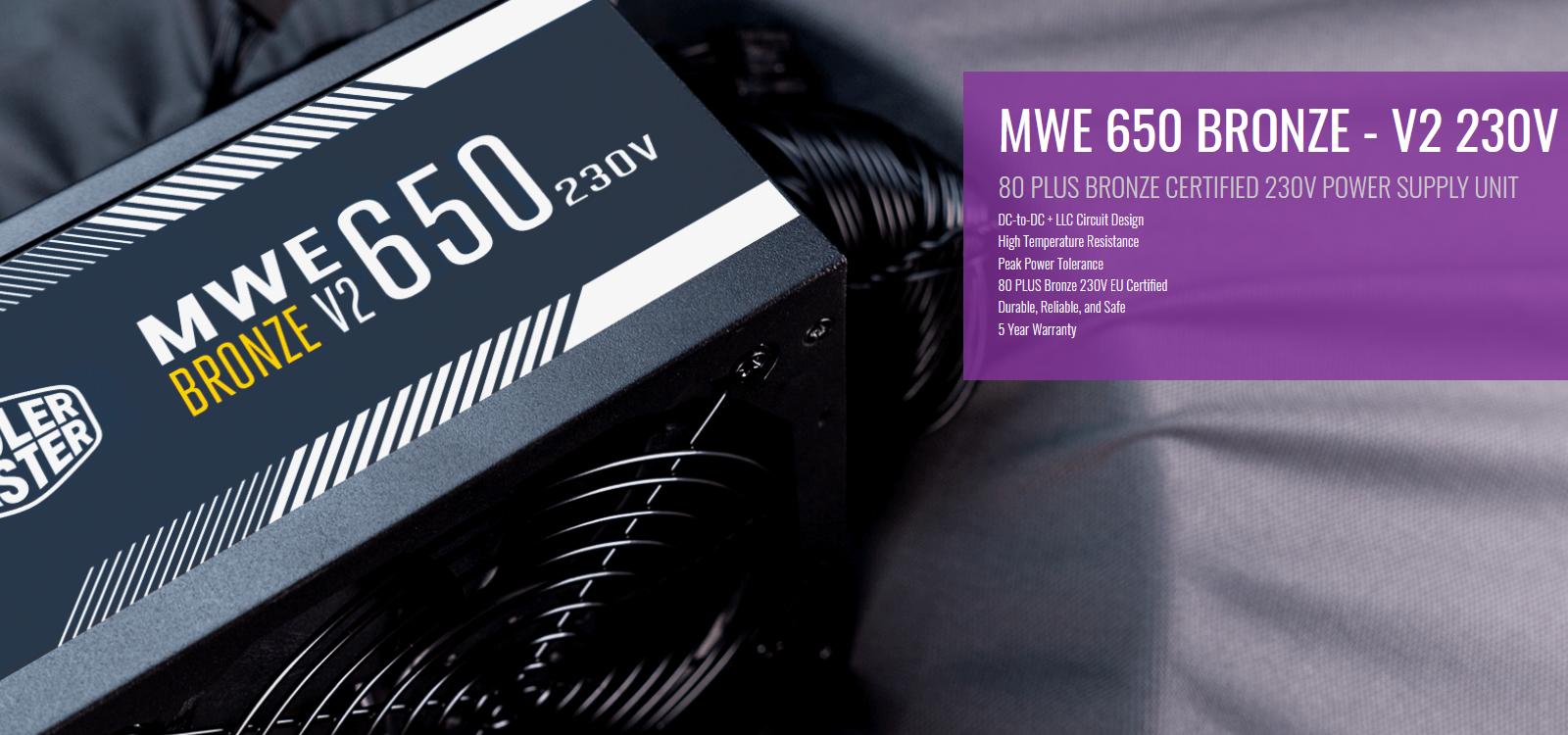 Giới thiệu Nguồn máy tính Cooler Master MWE V2 230V 650 650W Plus Bronze  (80 Plus Bronze/Màu Đen)