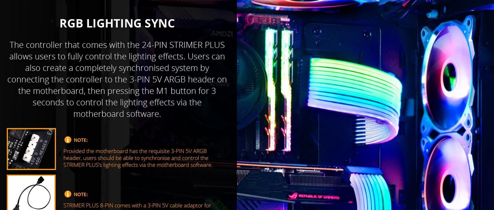 Dây nguồn nối dài Lian Li Strimer Plus 24 Pin + 2x8 Pin Vga (V2)